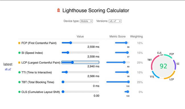 Screenshot of Lighthouse calculator page.